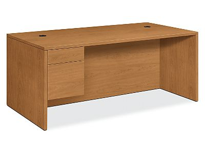HON 10500Series Left Pedestal Desk Harvest Front Side View H10586L.CC
