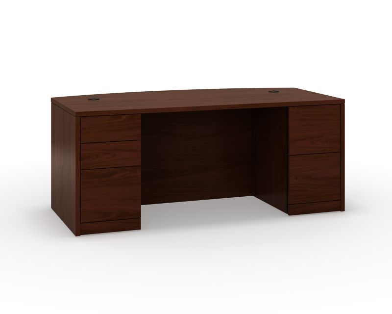 HON 10500 Series Left Pedestal Desk Mahogany Front Side View H105899.NN