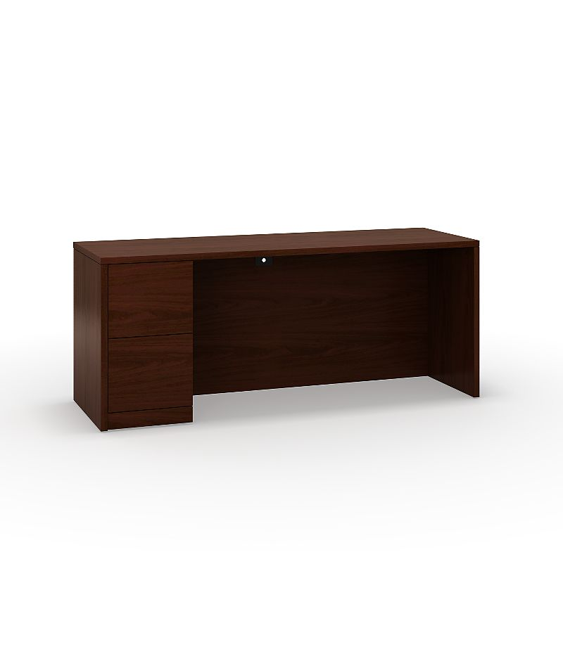 HON 10500 Series Left Credenza Mahogany Front Side View H105904L.NN