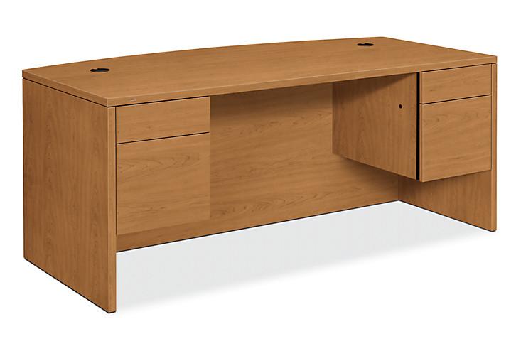 HON 10500 Series Double Pedestal Desk Harvest Front Side View H10595.CC