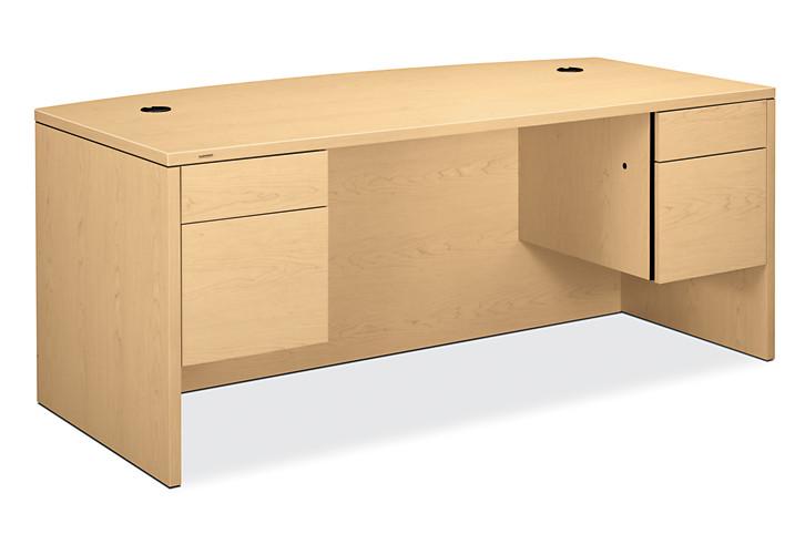 HON 10500 Series Double Pedestal Desk Natural Maple Front Side View H10595.DD