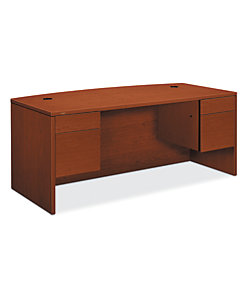 Hon 10500 Series Double Pedestal Desk Brown Front Side View H10595 Jj