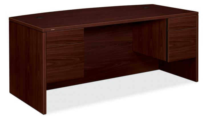 HON 10500 Series Double Pedestal Desk Mahogany Front Side View H10595.NN