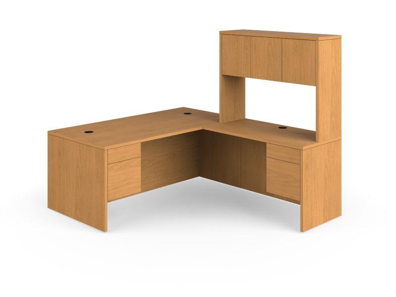 HON 10500Series Full Pedestal Desk Brown Front Side View H105LLH7284C