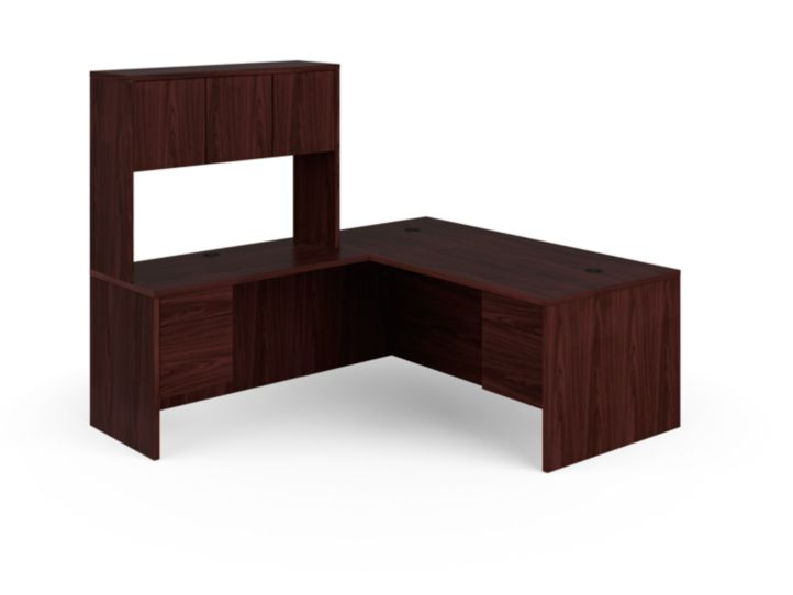 HON 10500 Series L-Workstation Mahogany Front Side View H105LRH7284N