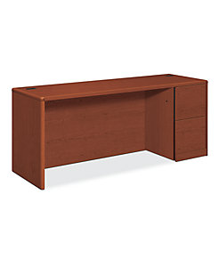 HON 10700 Series Right Credenza Brown Front Side View H10707R.JJ