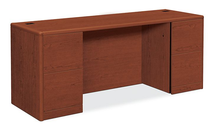 HON 10700 Series Double Credenza Brown Front Side View H10741.JJ