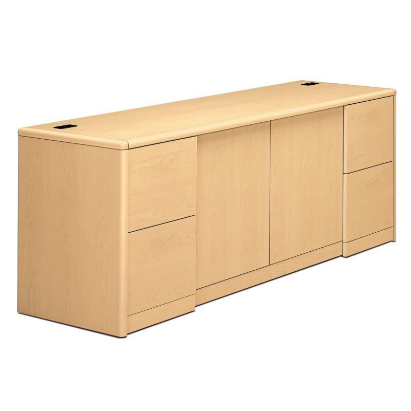 HON 10700 Series Double Credenza Natural Maple Front Side View H10742.DD