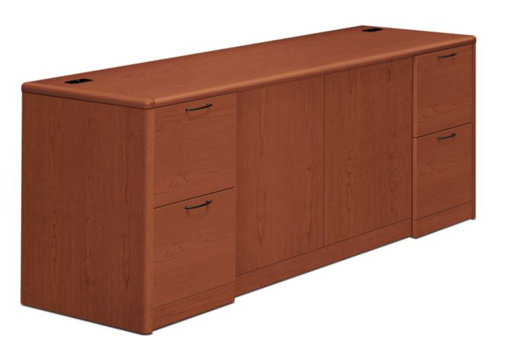 HON 10700 Series Double Credenza Brown Front Side View H10742.JJ