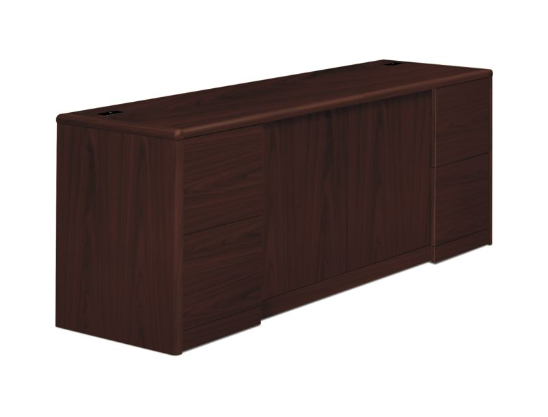 HON 10700 Series Double Credenza Mahogany Front Side View H10742.NN