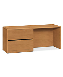 HON 10700 Series Left Credenza Harvest Front Side View H10748L.CC