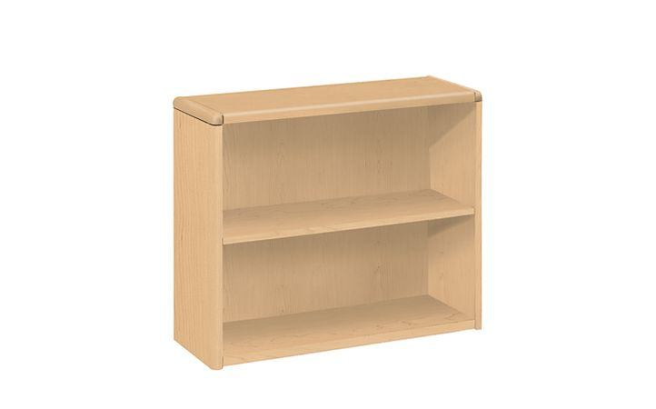 HON 10700 Series 2-Shelf Bookcase Natural Maple Front Side View H10752.DD