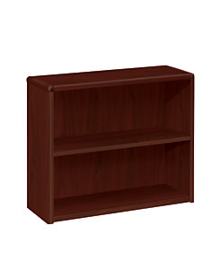 HON 10700 Series 2-Shelf Bookcase Mahogany Front Side View H10752.NN
