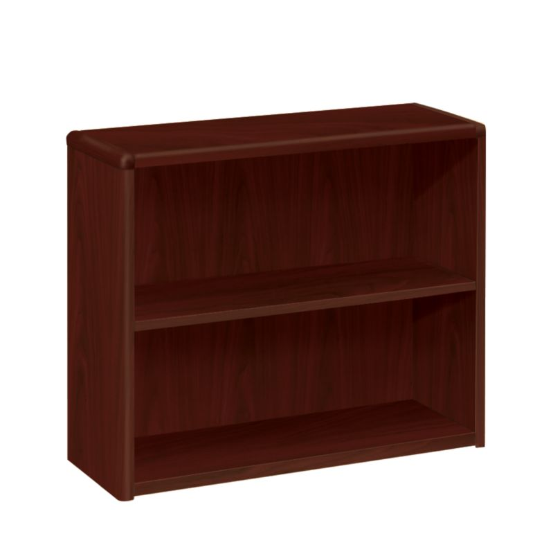 HON 10700 Series 2 Shelf Bookcase Mahogany Front Side View H10752.NN