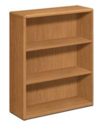 HON 10700 Series 3-Shelf Bookcase Harvest Front Side View H10753.CC