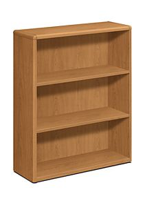 HON 10700 Series 3-Shelf Bookcase Harvest Front Side View H10753.CC