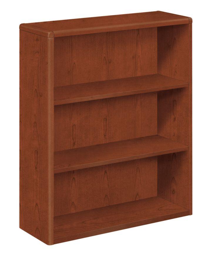 HON 10700 Series 3-Shelf Bookcase Brown Front Side View H10753.JJ