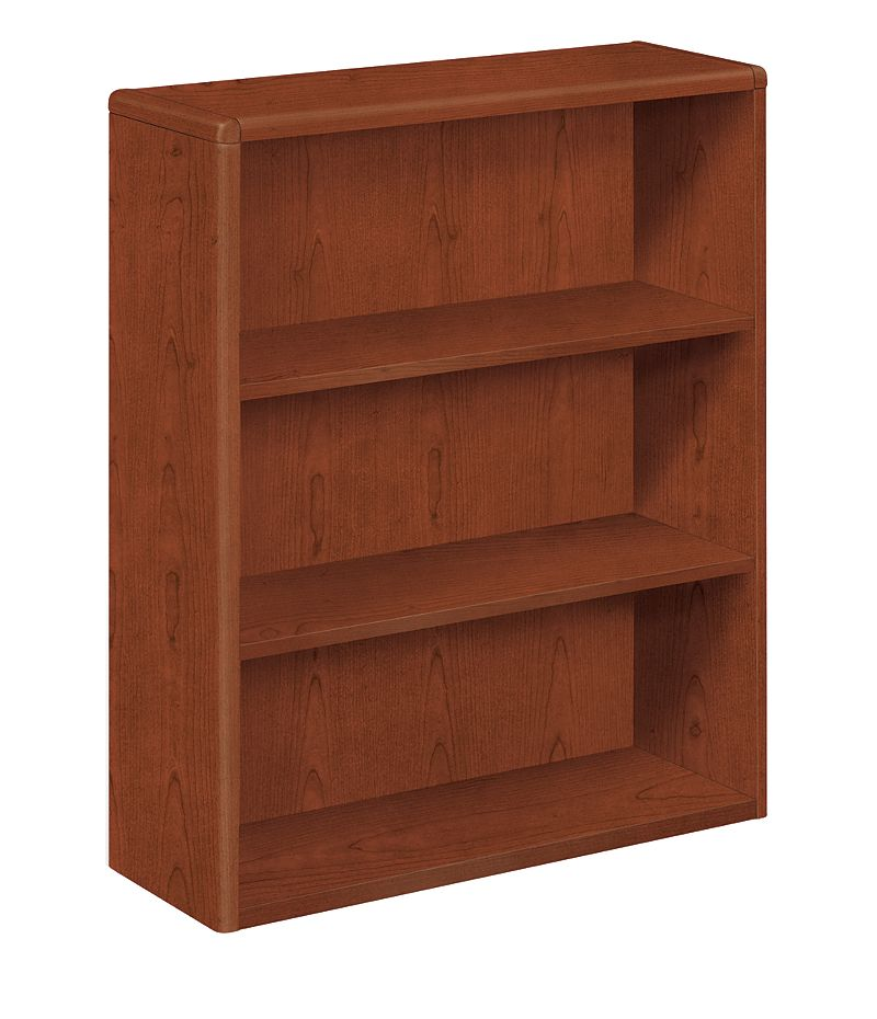 HON 10700 Series 3-Shelf Bookcase Brown Front Side View H10753.JJ