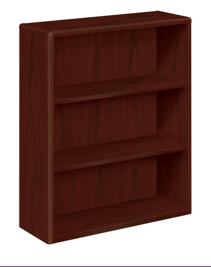 HON 10700 Series 3-Shelf Bookcase Mahogany Front Side View H10753.NN