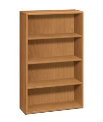 HON 10700 Series 4-Shelf Bookcase Harvest Front Side View H10754.CC