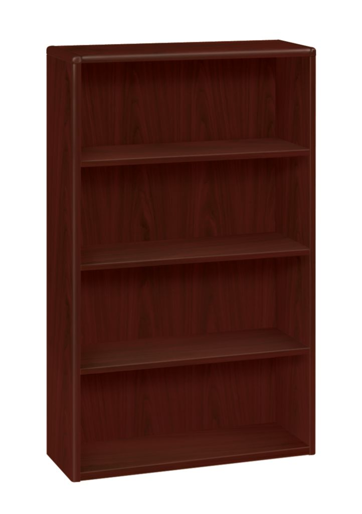 HON 10700 Series 4-Shelf Bookcase Mahogany Front Side View H10754.NN