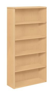 HON 10700 Series 5-Shelf Bookcase Natural Maple Front Side View H10755.DD