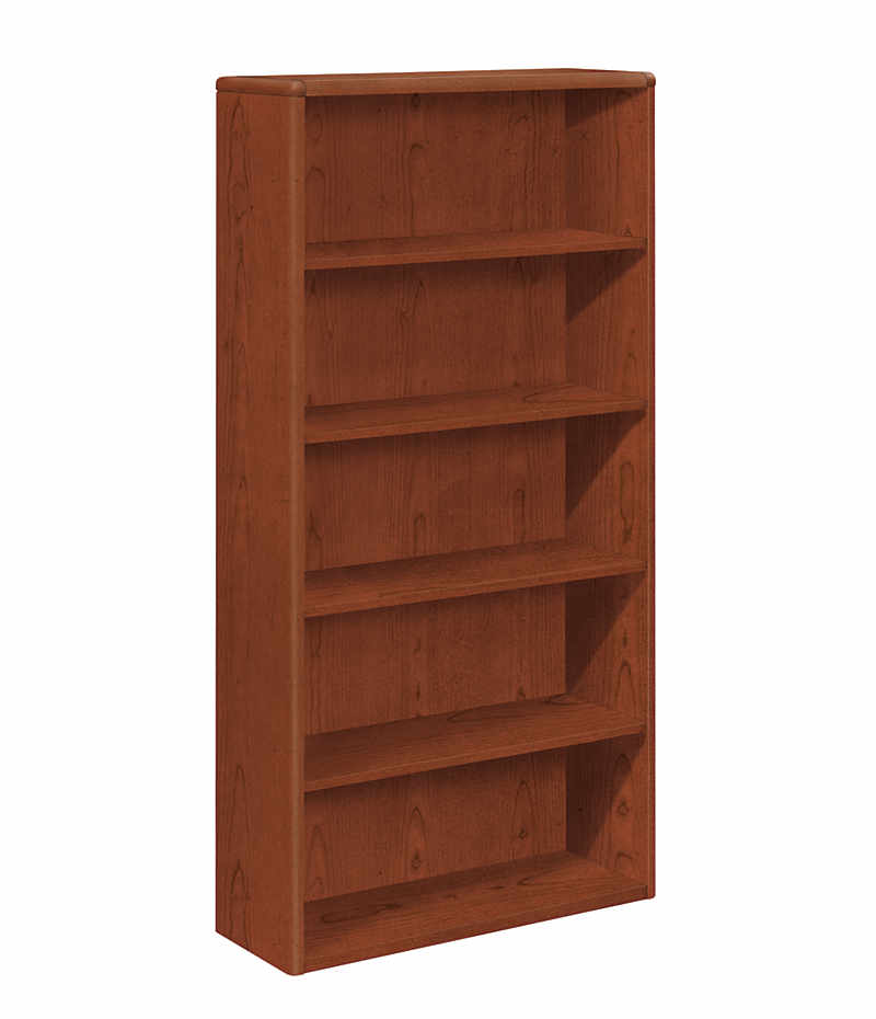 HON 10700 Series 5-Shelf Bookcase Brown Front Side View H10755.JJ