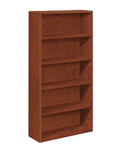 HON 10700 Series 5-Shelf Bookcase Brown Front Side View H10755.JJ