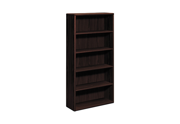 HON 10700 Series 5-Shelf Bookcase Mahogany Front Side View H10755.NN