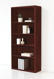 HON 10700 Series Adjustable Bookcase Mahogany Front Side View H107569.NN