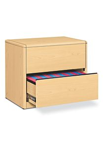 HON 10700 Series 2-Drawer Lateral File Natural Maple Front Side View H10762.DD