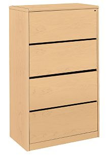HON 10700 Series 4-Drawer Lateral File Natural Maple Front Side View H107699.DD