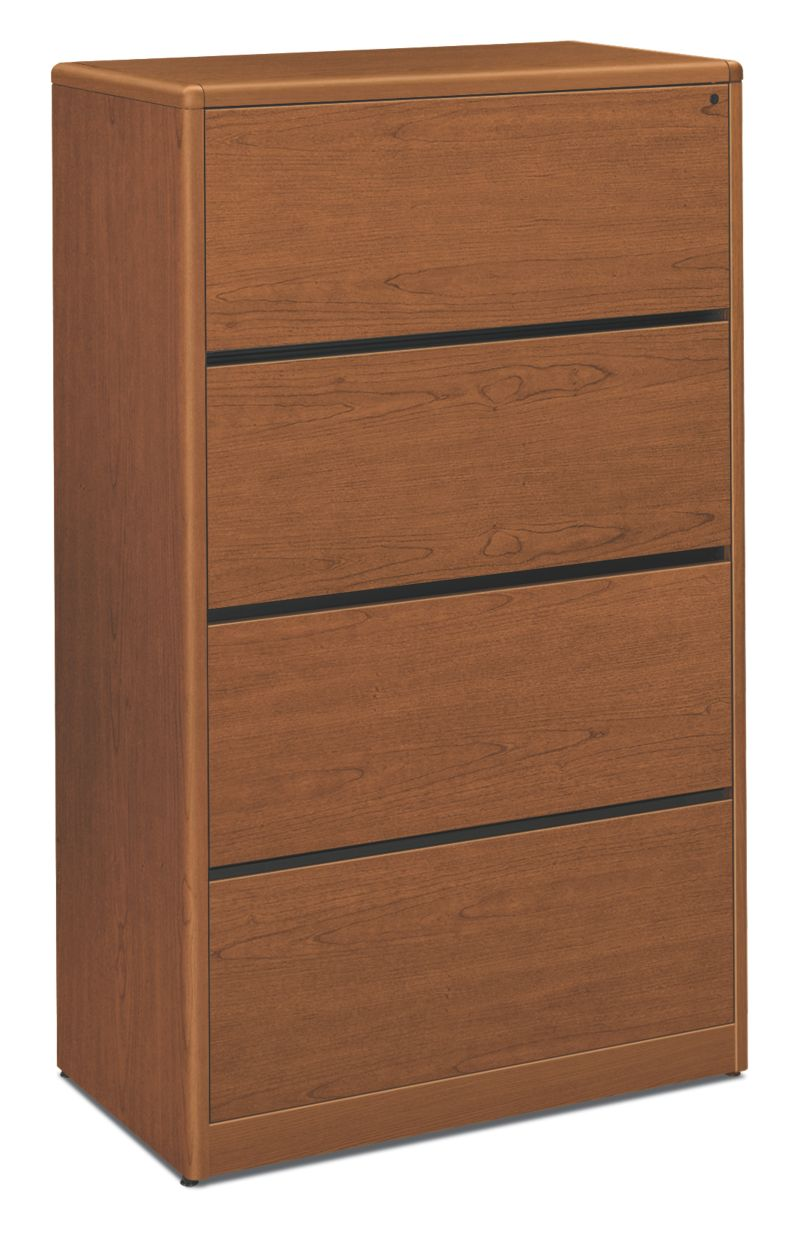 HON 10700 Series 4-Drawer Lateral File Bourbon Cherry Front Side View H107699.HH