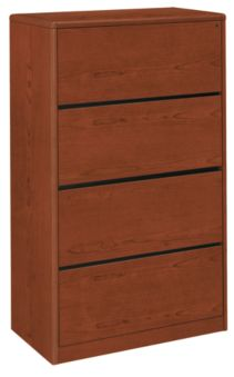 HON 10700 Series 4-Drawer Lateral File Brown Front Side View H107699.JJ