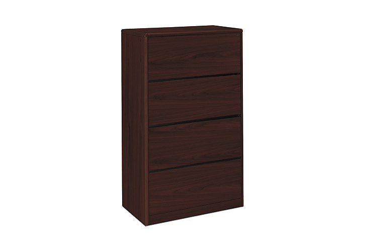 HON 10700 Series 4-Drawer Lateral File Mahogany Front Side View H107699.NN