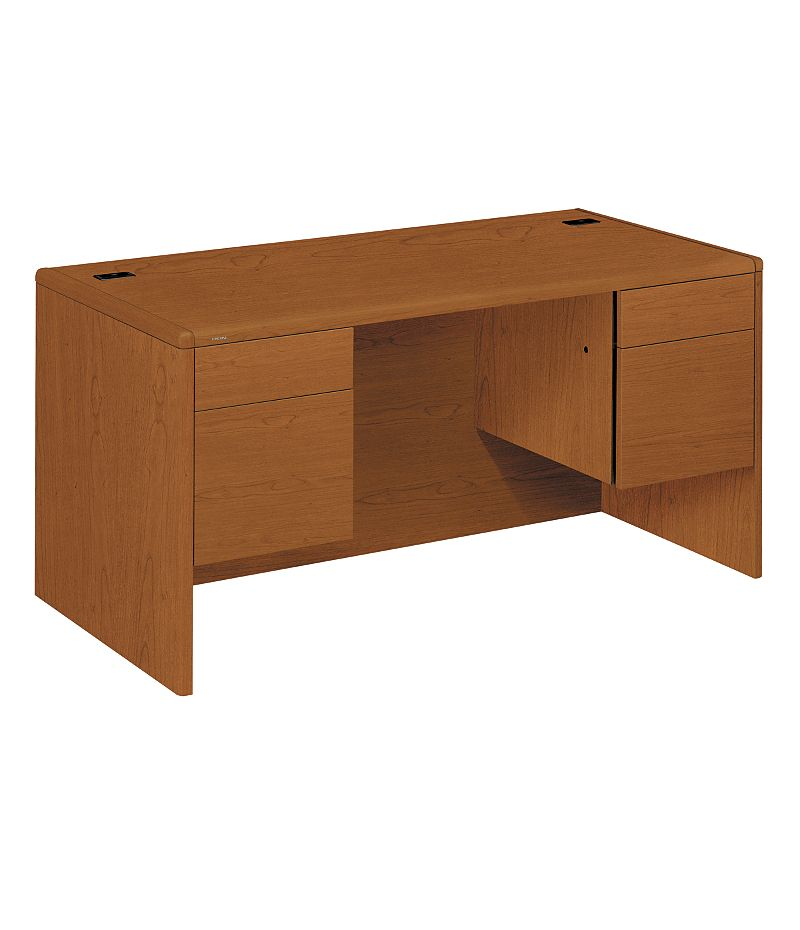 HON 10700 Series Double Pedestal Desk Bourbon Cherry Front Side View H10771.HH