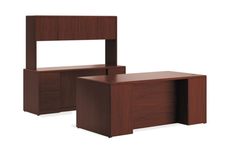 10700 Series Desk w/Storage Credenza/ Stack-on H10772S | HON Office on hon 10700 series credenza, l-shaped executive desks with credenza, hon park avenue couch set, hon storage cabinet hutch, hon executive kneehole credenza, hon lock kit, hon desk with return,