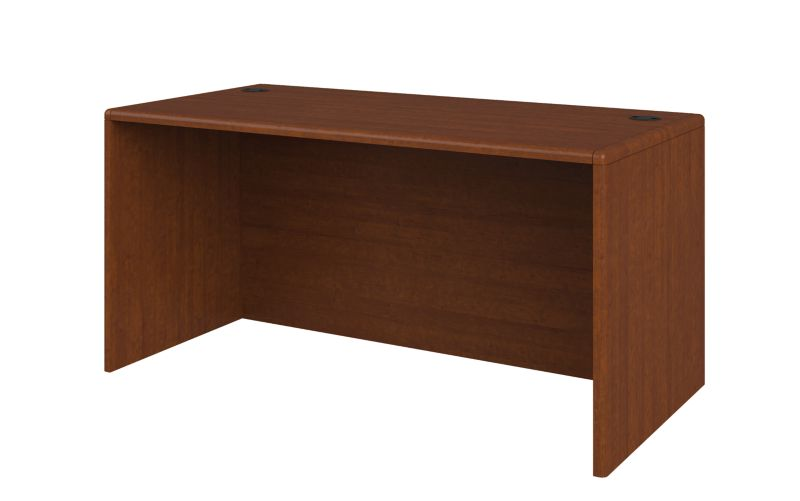 HON 10700 Series Desk Shell Brown Front Side View 107825.JJ