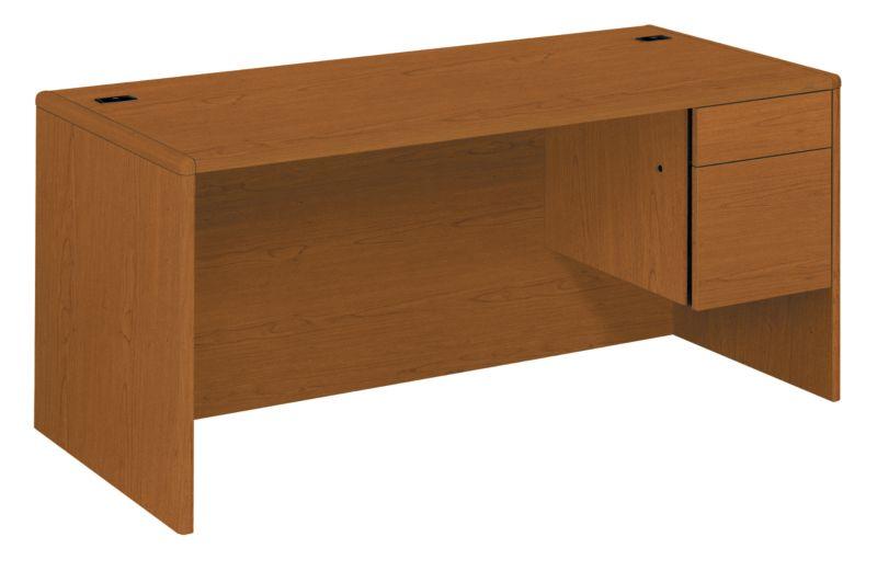 HON 10700Series Right Pedestal Desk Bourbon Cherry Front Side View H10783R.HH