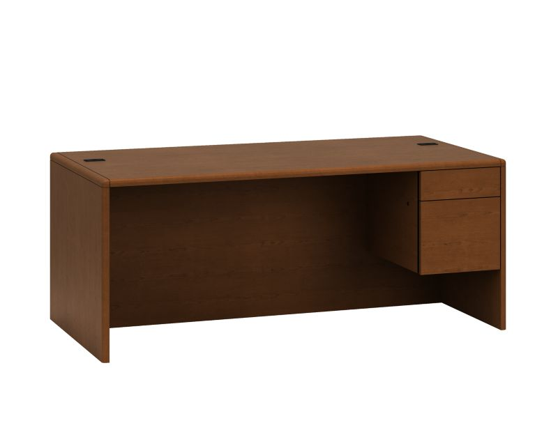 HON 10700 Series Single Pedestal Desk Brown Front Side View H10785R.JJ