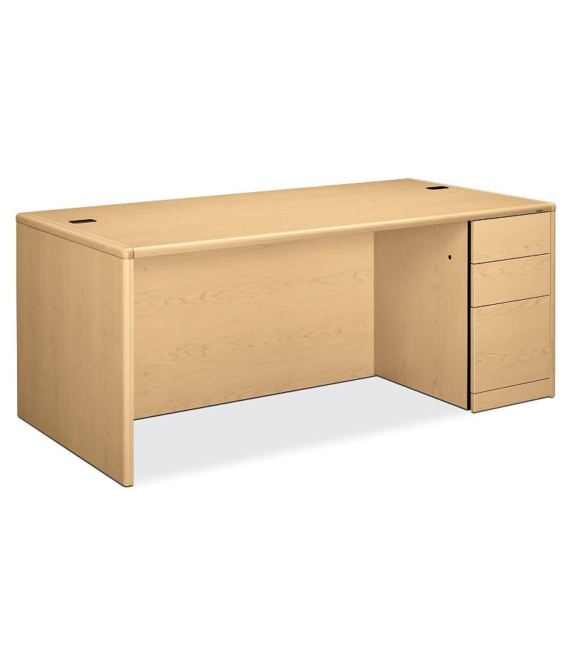 HON 10700 Series Right Pedestal Desk Natural Maple Front Side View H10787R.DD