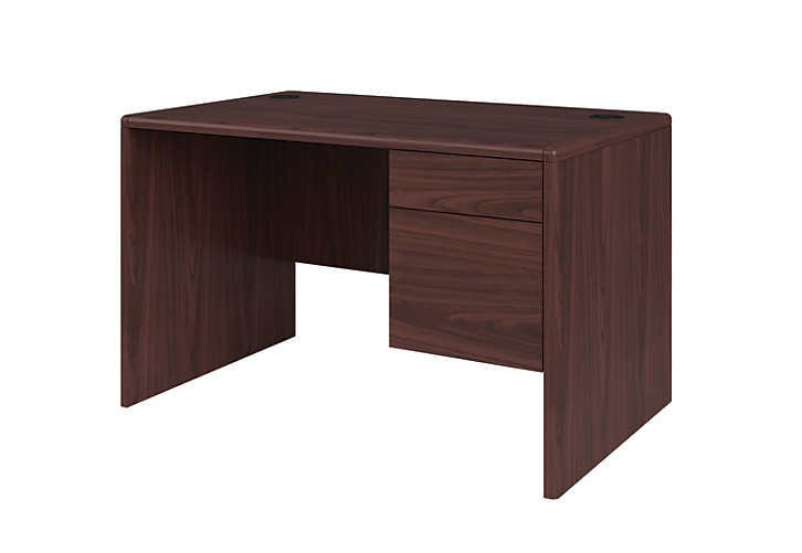 Hon 10700 Series Small Office Desk Mahogany Front Side View H107885r Nn