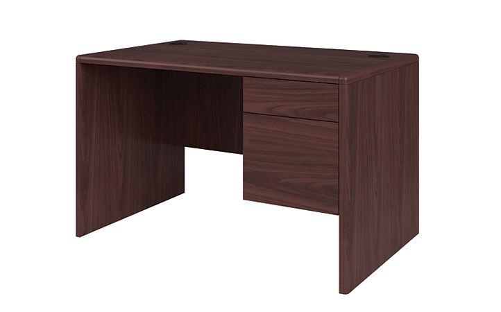 HON 10700 Series Small Office Desk Mahogany Front Side View H107885R.NN
