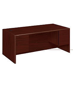 HON 10700 Series Double Pedestal Desk Mahogany Front Side View H10791.NN