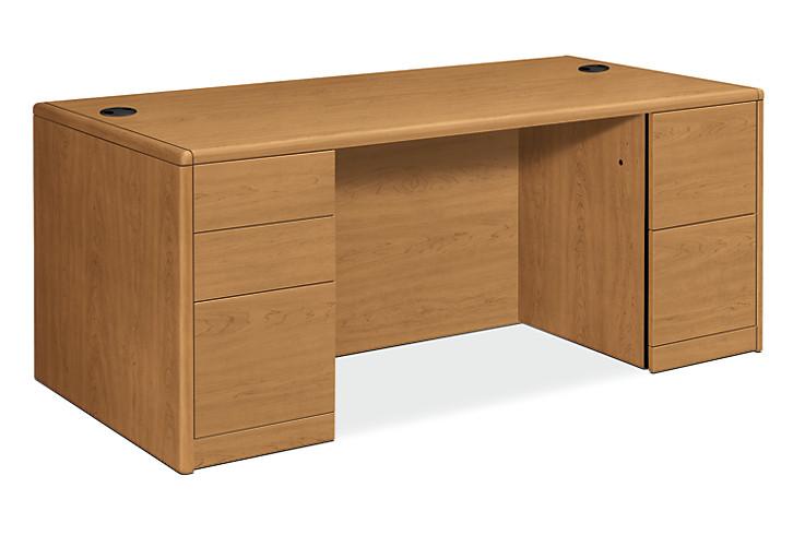 HON 10700 Series Double Pedestal Desk Harvest Front Side View H10799.CC