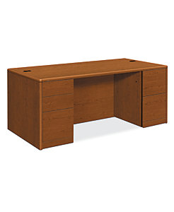 HON 10700 Series Double Pedestal Desk Bourbon Cherry Front Side View H10799.HH