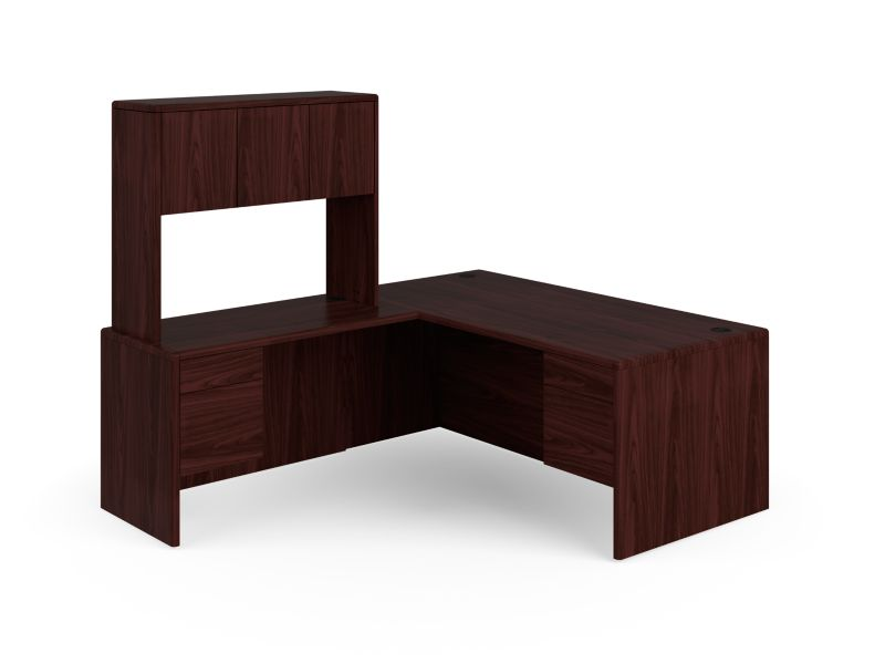 HON 10700 Series L-Workstation Mahogany Front Side View H107LRH7284N