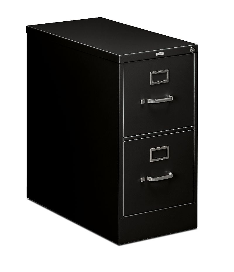 HON 210 Series 2-Drawer Vertical File Black Front Side View H212.P.P
