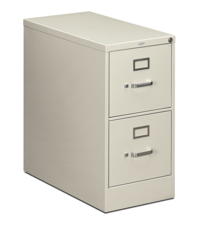 HON 210 Series 2-Drawer Vertical File Light Gray Front Side View H212.P.Q