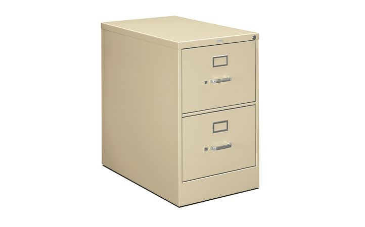 HON 210Series 2-Drawer Vertical File Putty Lock Front Side View H212C.P.L